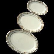 Vintage Signed GDA Haviland Porcelain Nest Of Three Platters