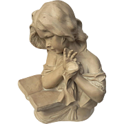 Early Vintage Plaster Bust Of A Girl Reading