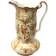 Large Antique English Crown Duval Ware Porcelain Pitcher, Circa 1910