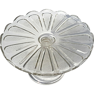 Early American Pattern Glass Cake Stand, Circa 1900