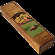 Vintage Japanese Inlaid Wood Brush Box