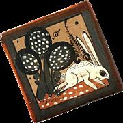 Vintage Mexican Tonala Pottery Rabbit Tile