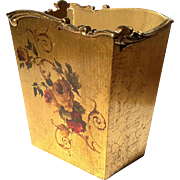 Italian Florentine Floral Gilt Wood Waste Can