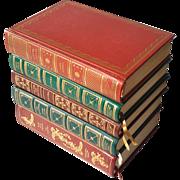 Set Of Five Vintage Leather Bound Books