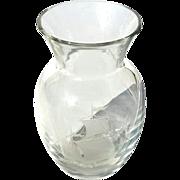 Vintage Signed Val St Lambert Etched Crystal Vase