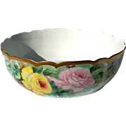 19th Century GDA French Haviland Limoges Porcelain Rose Decorated Bowl
