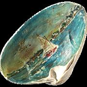 Early Vintage Seascape Painted Seashell