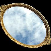 Vintage Italian Gilt Metal Mirrored Vanity Tray