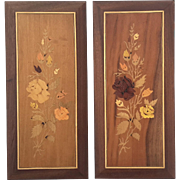 Pair Of Vintage Italian Inlaid Wood Floral Marquetry Plaques