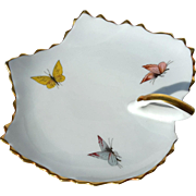 Vintage Signed French Limoges Porcelain Handled Leaf Plate With Butterflies