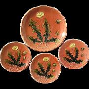 Vintage Set Of Four Majolica Pottery Dandelion Plates