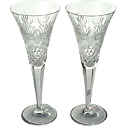 Pair Of Waterford Crystal Champagne Flutes Millennium Series