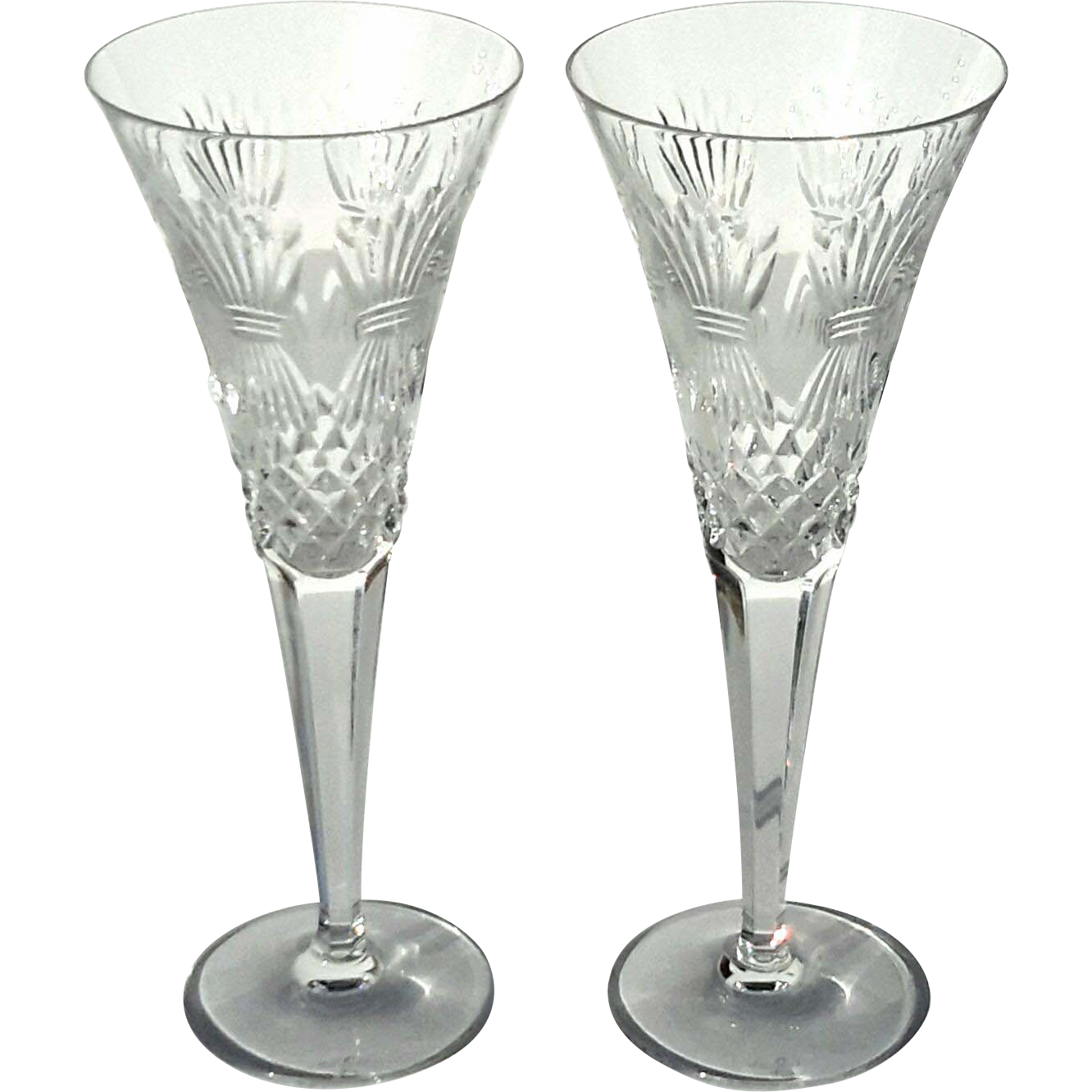pair of waterford crystal champagne flutes millennium. Black Bedroom Furniture Sets. Home Design Ideas