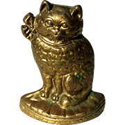 Vintage Solid Brass Cat Doorstop