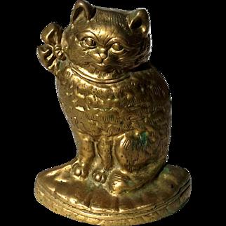 Vintage Solid Brass Cat Doorstop
