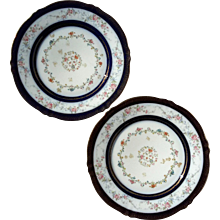 Pair Of Antique French Haviland Limoges Porcelain Plates