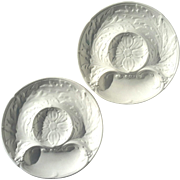 Pair Of Vintage Signed French White Majolica Pottery Artichoke Plates