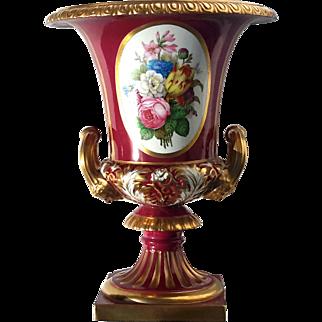 Large Vintage Signed Richard Ginori Hand-Painted Floral Urn