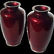 Early Vintage Pair Of Japanese Pigeon Blood Cloisonne Vases