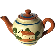 Early Vintage Small English Mottoware Cottage Teapot