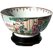 Early 19th Century Chinese Export Porcelain Bowl On Rosewood Stand