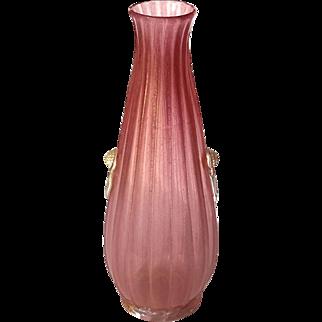 Large Vintage Hand-Blown Venetian Glass Vase