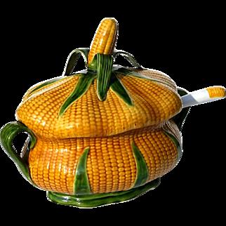 Vintage Portuguese Majolica Pottery Corn Tureen With Ladle