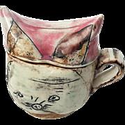 Signed Bernadette Curran Art Pottery Lidded Mug
