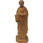 Vintage Gilt Metal Statue Of Saint Thomas Aquinas