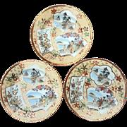 Vintage Set Of Three Signed Japanese Hand-Decorated Kutani Porcelain Plates