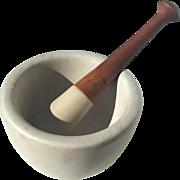 Antique Standard Trenton Stoneware Mortar And Pestle