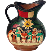 Large Early Vintage Mexican Tlaquepaque Pottery Mariachi Band Pitcher