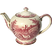 Early Vintage English Sadler Red And White Transferware Abby Falls Teapot