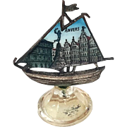 19th Century Grand Tour Antwerp Souvenir Enameled Silver Place Card Holder