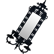 Antique Cast Iron Candle Sconce Beveled Mirror