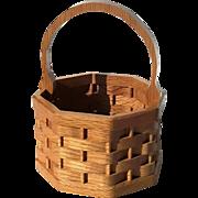 Artist Signed Carved Wood Basket
