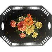 Large Vintage Floral Hand-Painted Metal Tole Tray