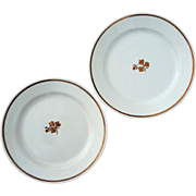 Pair Of Antique English Copper Luster Tea Leaf Ironstone Plates
