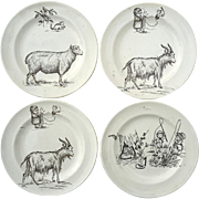 Set Of Four 19th Century Staffordshire Pottery Child's Plates