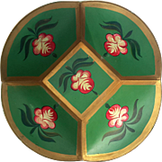 Vintage Hand-Painted Floral Metal Toleware Bowl