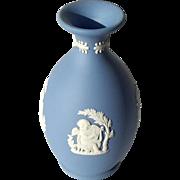 Vintage Signed Wedgwood Blue Jasperware Cherub Vase