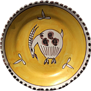 Vintage Signed Italian Vietri Hand-Decorated Pottery Goat Plate