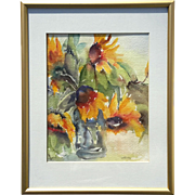 Original Artist Signed J. Ross Framed Sunflower Watercolor Painting