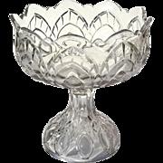 Early American Pattern Glass Triple Mold Pedistal Bowl