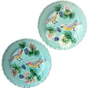 Vintage Pair Of German Majolica Pottery Bird Plates