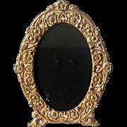 Vintage Floral Gilt Metal Oval Picture Frame