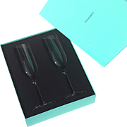 Boxed Pair Of Tiffany & Co. Crystal Champagne Flutes