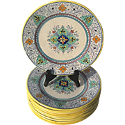 Antique Signed Set Of Ten Italian Deruta Majolica Pottery Plates