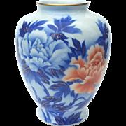 Large Vintage Signed Japanese Fukagawa Porcelain Peony Vase