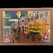 Large Vintage Art Tile Plaque Of Royal Street New Orleans